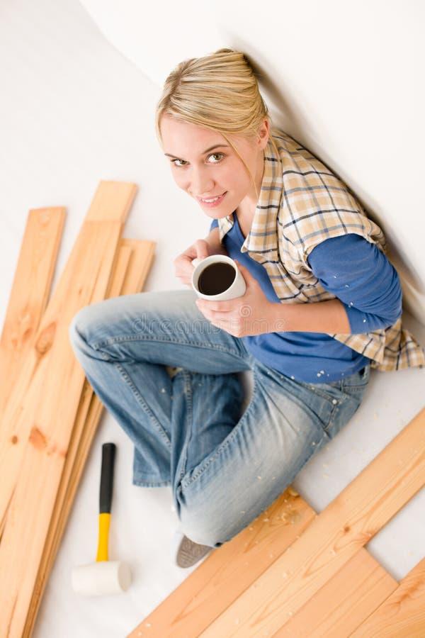 Download Home Improvement - Handywoman Coffee Break Stock Image - Image: 18015957