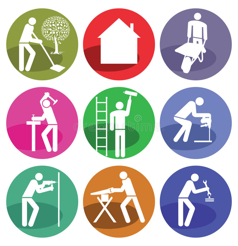 Home improvement icons. A set of home improvement and craftsmanship icons vector illustration