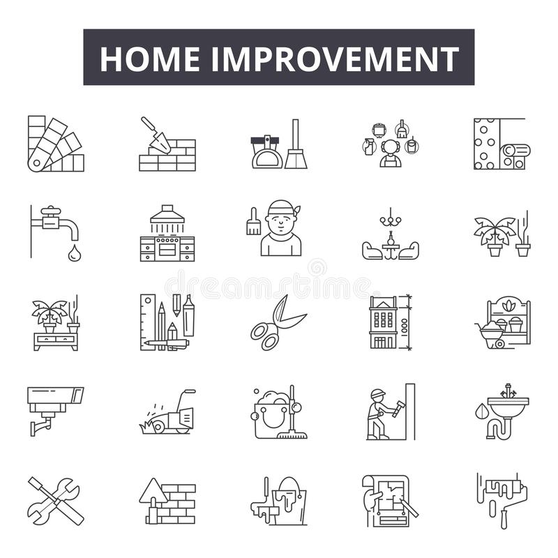 Free Home Improvement Line Icons For Web And Mobile Design. Editable Stroke Signs. Home Improvement Outline Concept Stock Photography - 142433052
