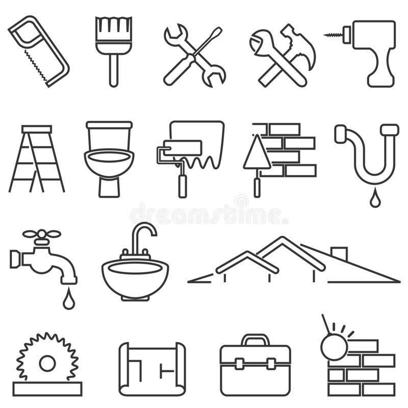 Free Home Improvement, Renovation And Remodeling Line Icon Set Stock Image - 154996191