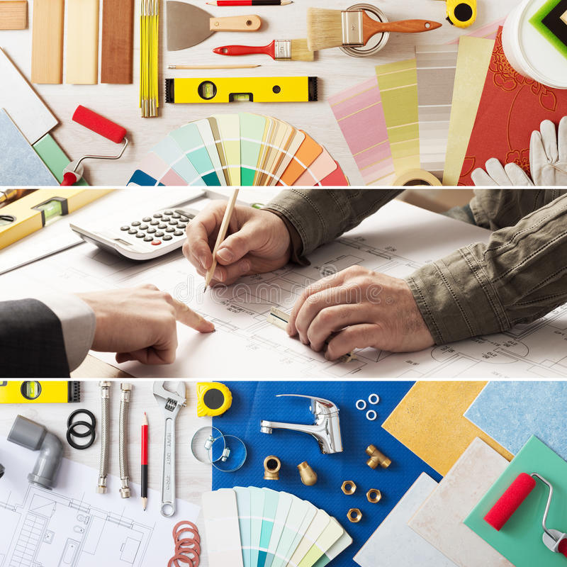 Home improvement and renovation. Home renovation and improvement banner set with work tools, swatches, architect and customer hands at work royalty free stock photography