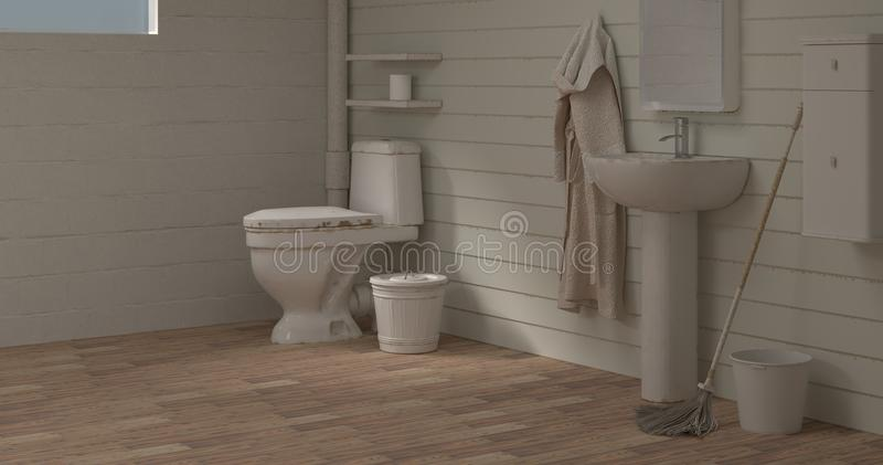 Home improvement Toilet room Washbasin before cleaning 3d illustration empty room interior backgroun empty wall objects home deco vector illustration