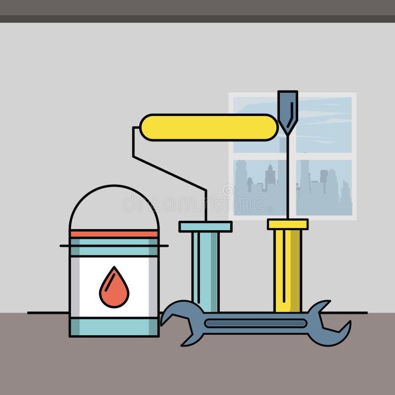 Home improvement concept. Home improvement and tools symbols vector illustration graphic design vector illustration