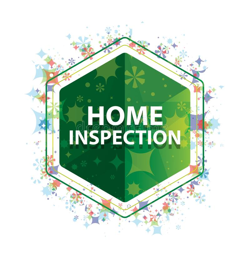 Home Inspection floral plants pattern green hexagon button. Home Inspection Isolated on floral plants pattern green hexagon button royalty free stock photo