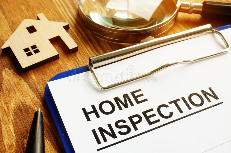 Home inspection form with clipboard. Home inspection form with clipboard and pen stock photography
