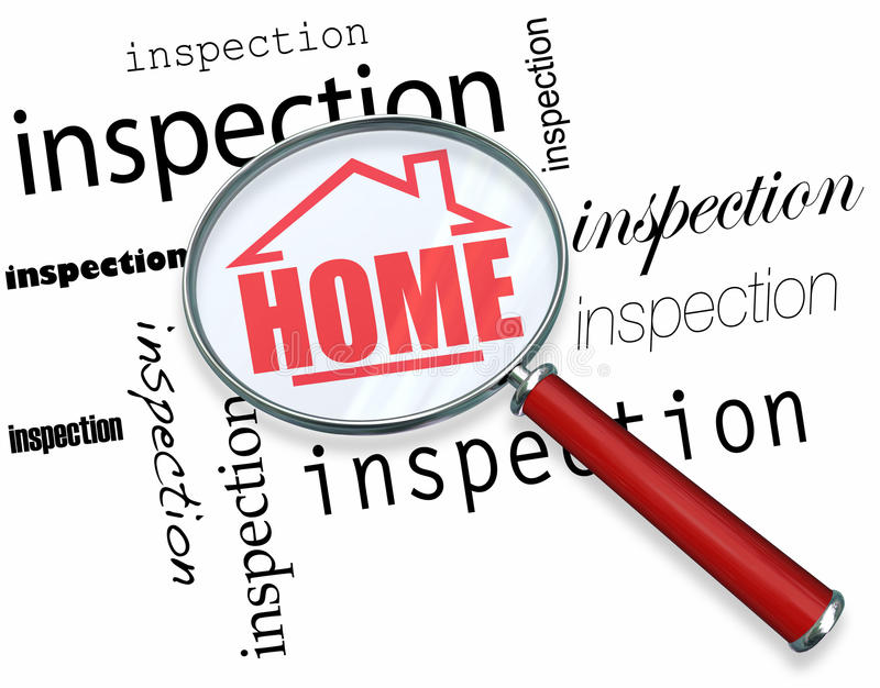 Home Inspection - Magnifying Glass. A magnifying glass hovering over the words Inspection, centering on a house with the word Home inside it vector illustration