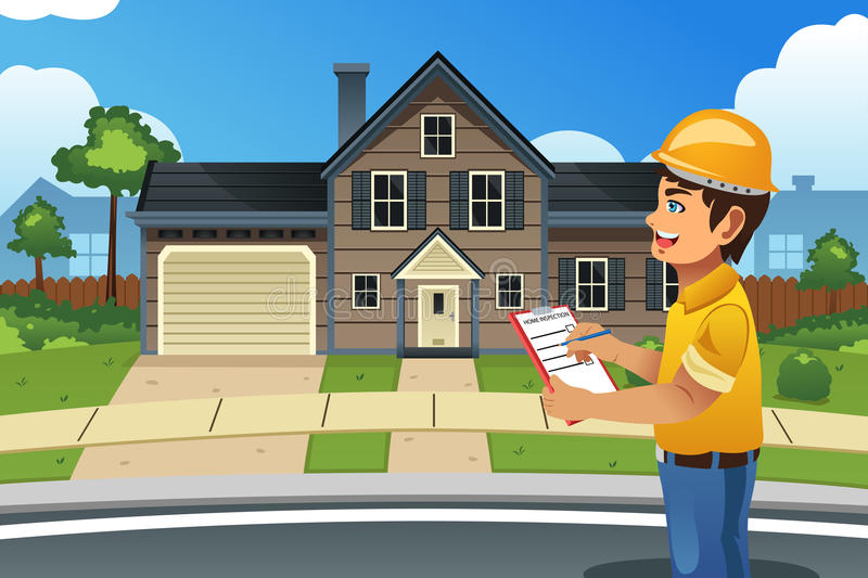 Home Inspector in Front of a House. A vector illustration of home inspector in front of a house stock illustration