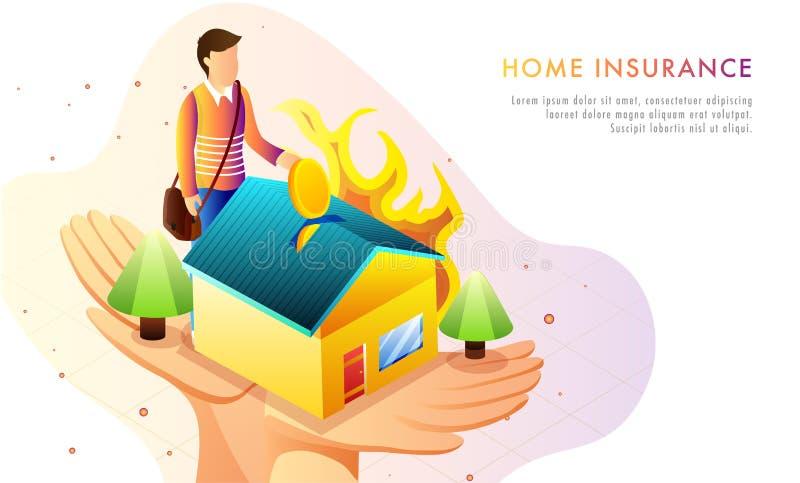 Home Insurance concept based web template design, man investing stock illustration