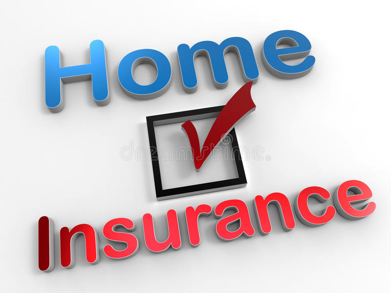 Home insurance concept. 3D rendered illustration for the home insurance concept. The composition is on a white background with shadows and uses reflective colors vector illustration
