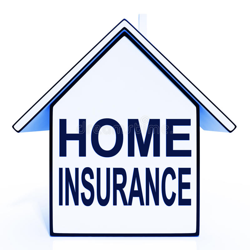 Home Insurance House Shows Protection And Cover Stock ...