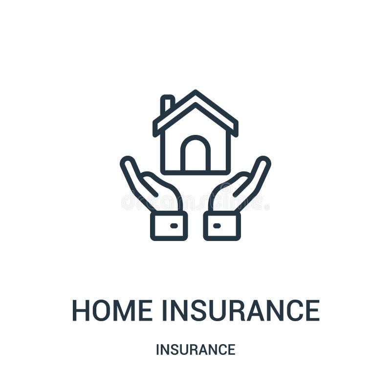 home insurance icon vector from insurance collection. Thin line home insurance outline icon vector illustration. Linear symbol stock illustration