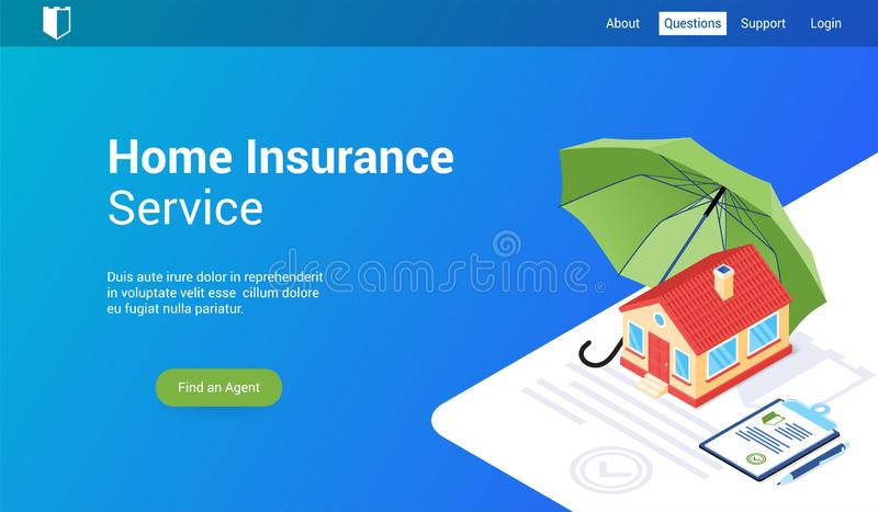 Home insurance lp template. Isometric landing page template for home insurance. Vector illustration mock-up for website and mobile website stock illustration