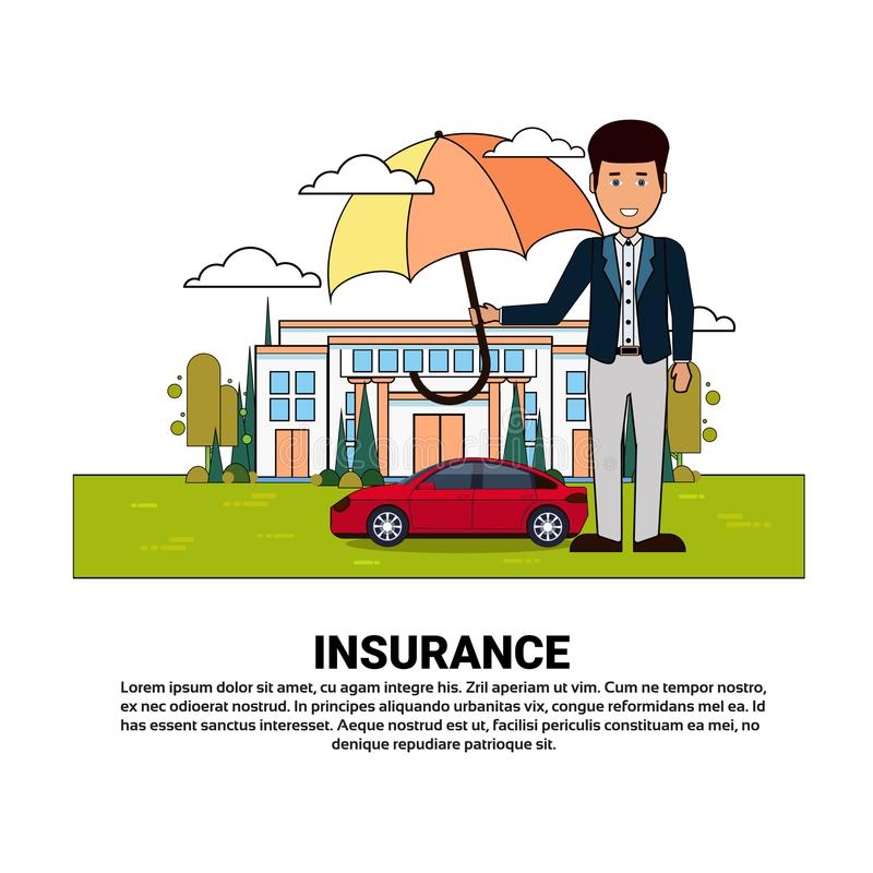 Home Insurance Services Banner With Agent Hold Umbrella Over Real Estate And Car Property Protection And Safety Concept. Vector Illustration vector illustration