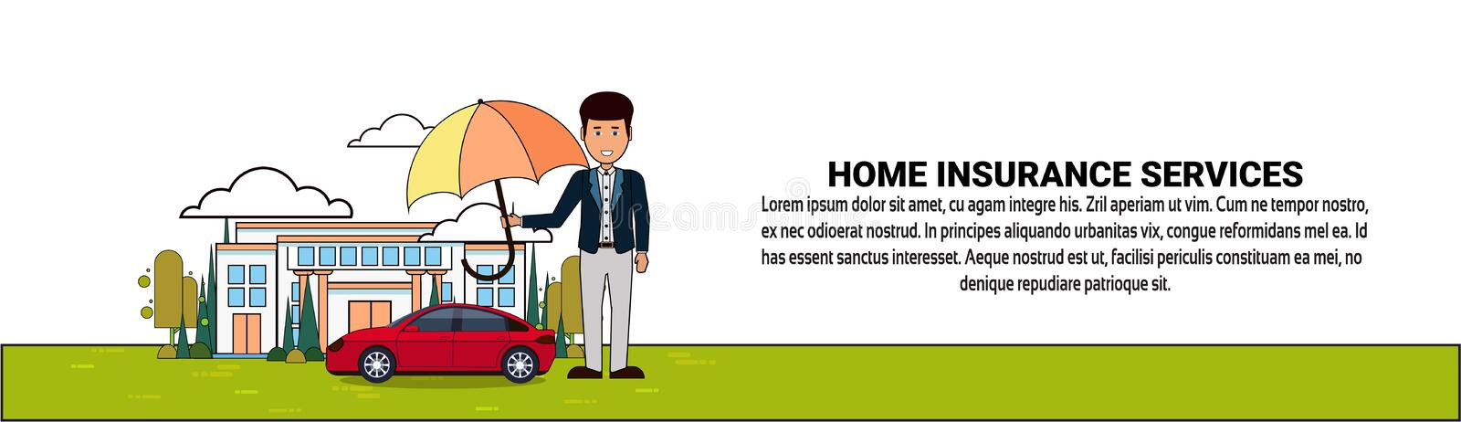 Home Insurance Services Banner With Man Holding Umbrella Over House And Car Property Protection And Safety. Vector Illustration stock illustration