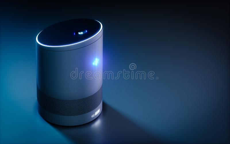 Home intelligent voice activated assistant. 3D rendering concept. Of hi tech futuristic artificial intelligence speech recognition technology vector illustration
