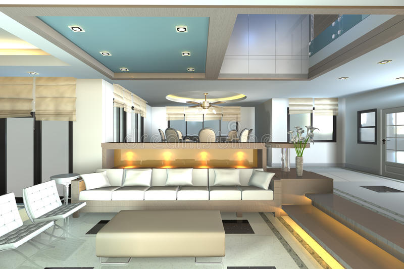 Home interior 3D rendering stock photography