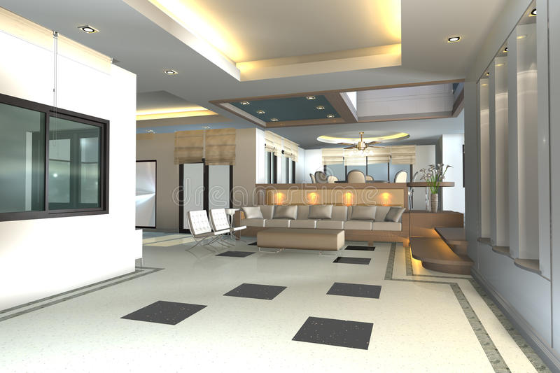 Home interior 3D rendering stock photos