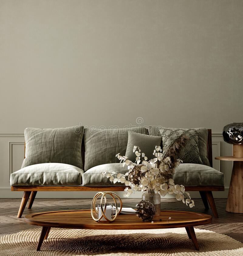 Free Home Interior Background, Cozy Room With Natural Wooden Furniture, Scandi-Boho Style Royalty Free Stock Photo - 215656265