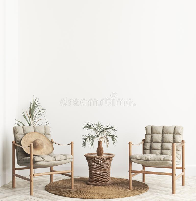 Free Home Interior Background With Wicker Furniture And Decor, Empty White Wall Mockup Stock Image - 177486831