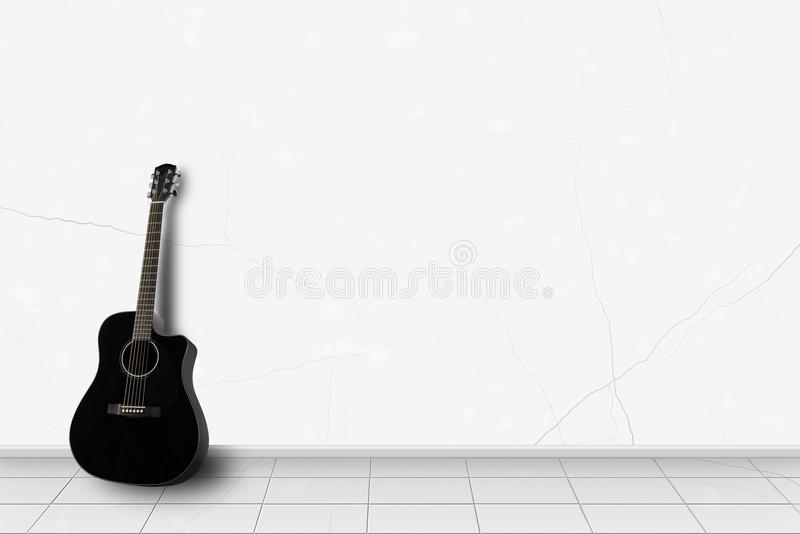 Home interior - Black guitar in front of white wall royalty free stock photos