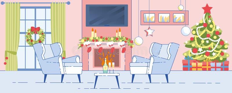 Home Interior Christmas Decoration Flat Vector vector illustration