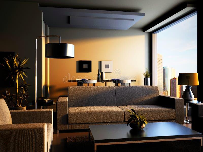 Home interior 3d rendering royalty free illustration