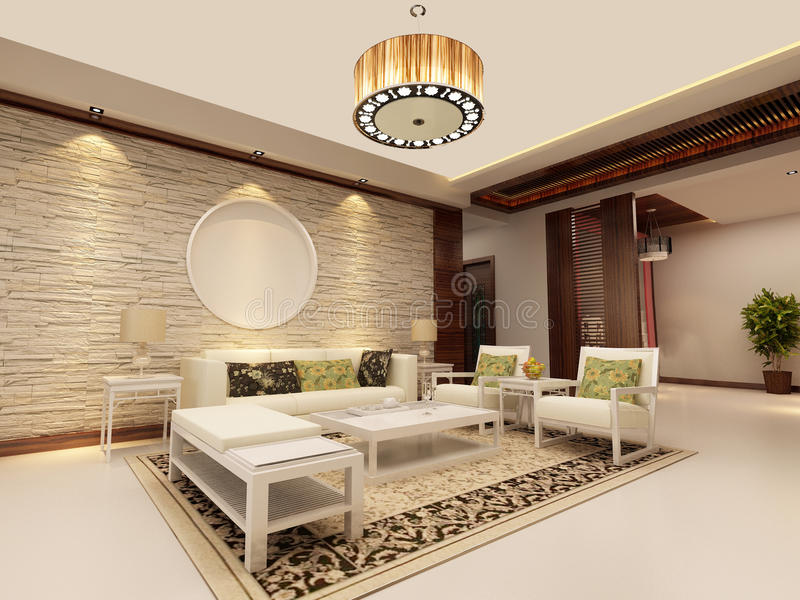 Home interior 3d rendering. 3d rendering of home interior stock illustration