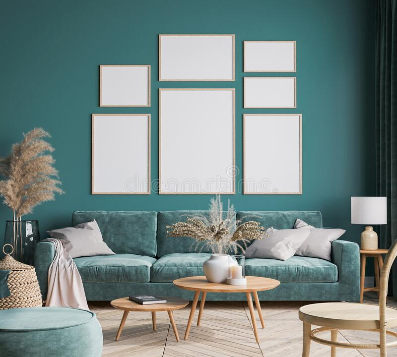 Free Home Interior Design With Green Sofa, Wooden Table And Trendy Decoration In Green Living Room, Gallery Wall Stock Photography - 209508732