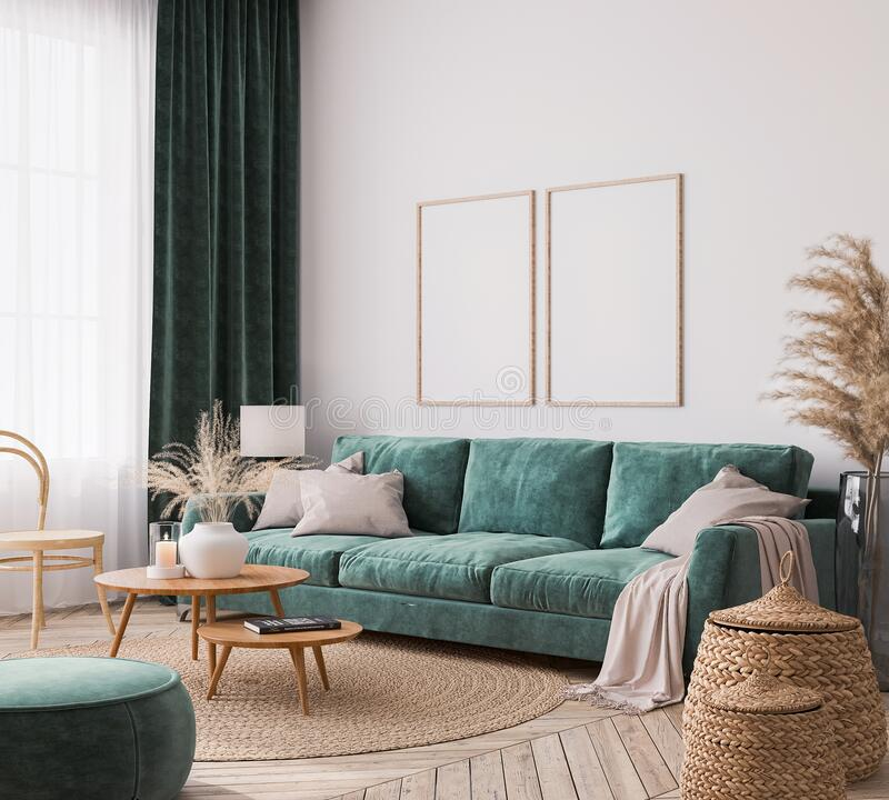 Free Home Interior Design With Green Sofa, Wooden Table And Trendy Decoration In White Living Room, Frame Mock-up Stock Image - 209508741