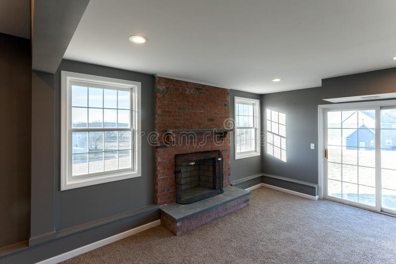 Home Interior Finished Basement stock image