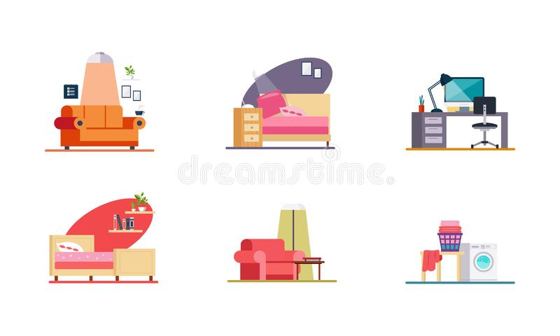 Home interior, home office, living room, bedroom, laundry elements vector Illustration on a white background royalty free illustration