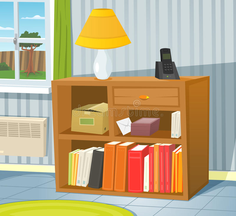 Home Interior Stock Vector. Illustration Of Books, Room