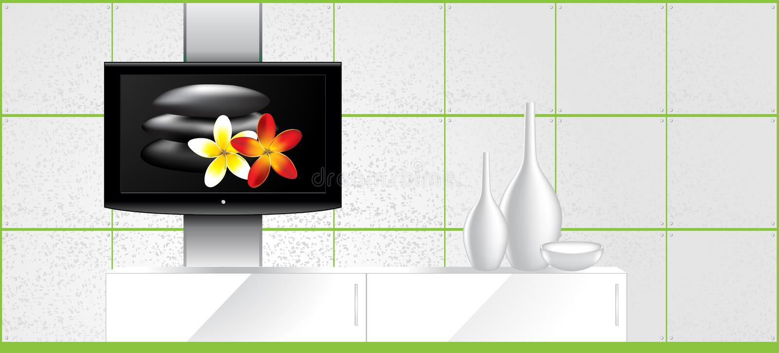 Home Interior - LCD Tv On The Wall And Decorations Royalty Free Stock Image