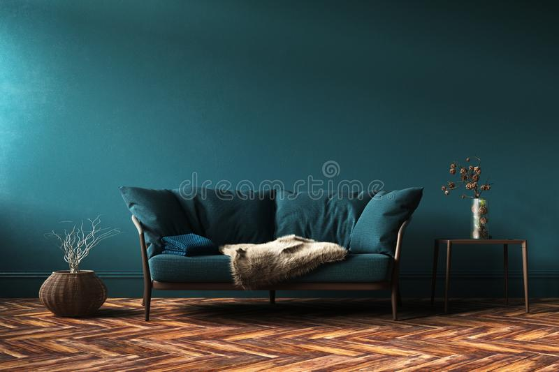 Home interior mock-up with green sofa, table and decor in living room royalty free stock photo