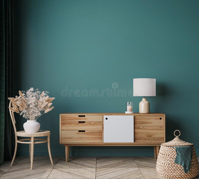 Free Home Interior Mock Up In Modern Background, Green Living Room With Wooden Furniture, Scandinavian Style Stock Photo - 209508770