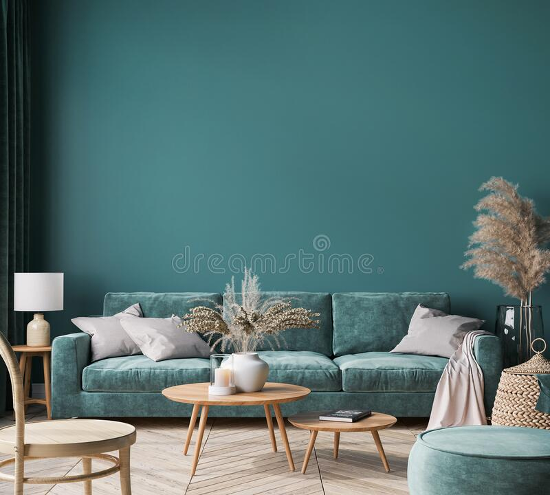 Free Home Interior Mock-up With Green Sofa, Wooden Table And Trendy Decoration In Green Living Room Royalty Free Stock Images - 209508719