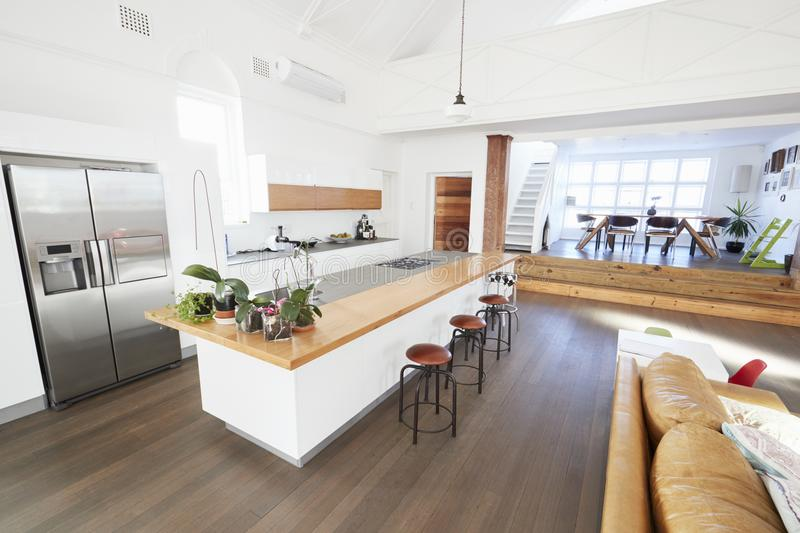 Home Interior With Open Plan Kitchen And Dining Area stock photos