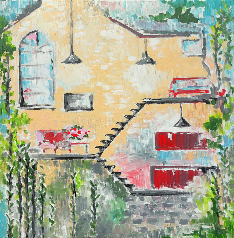 Home interior original painting on canvas vector illustration