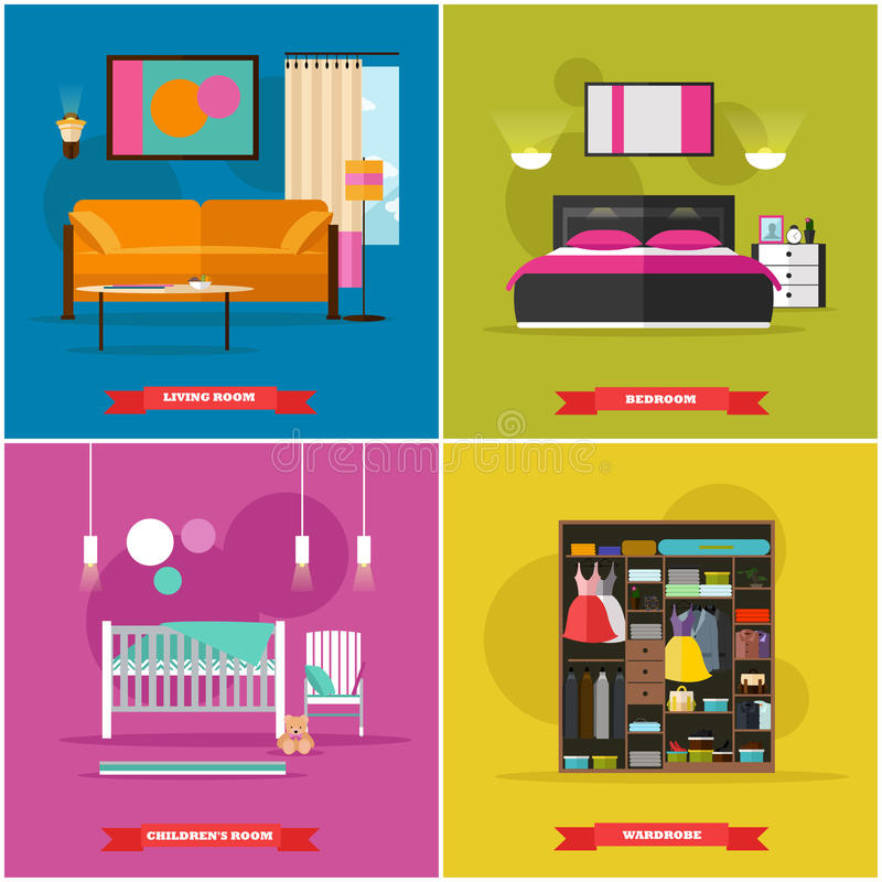 Home interior vector illustration in flat style. House design with furniture, bed, sofa, wardrobe. royalty free illustration