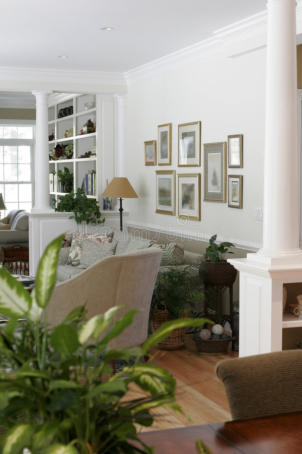 Home interior view. A home interior view looking into a living room royalty free stock image