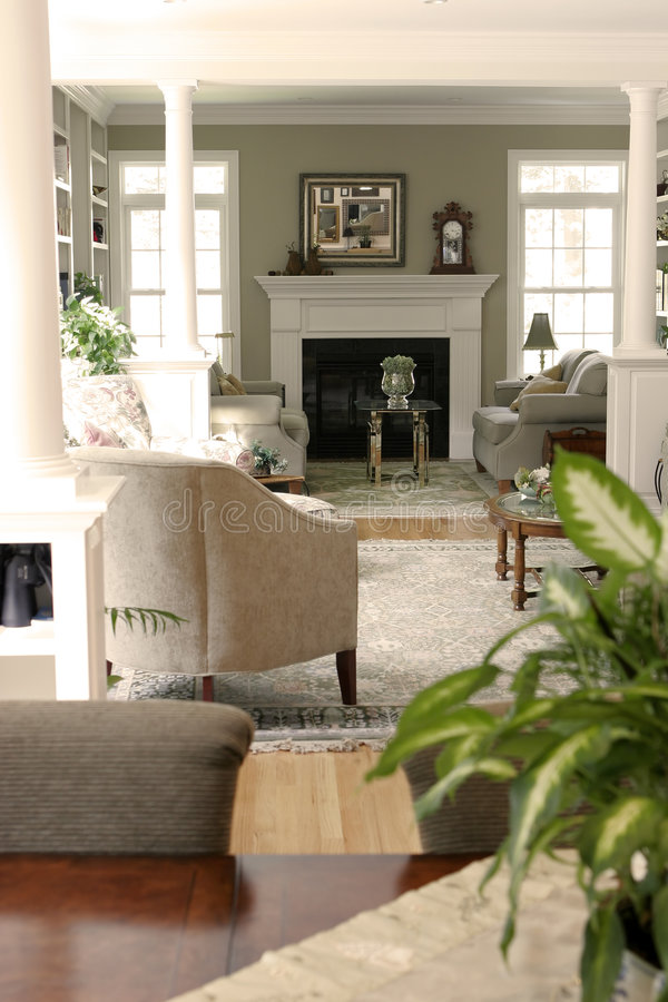 Home interior view. A home interior view looking into a living room royalty free stock images