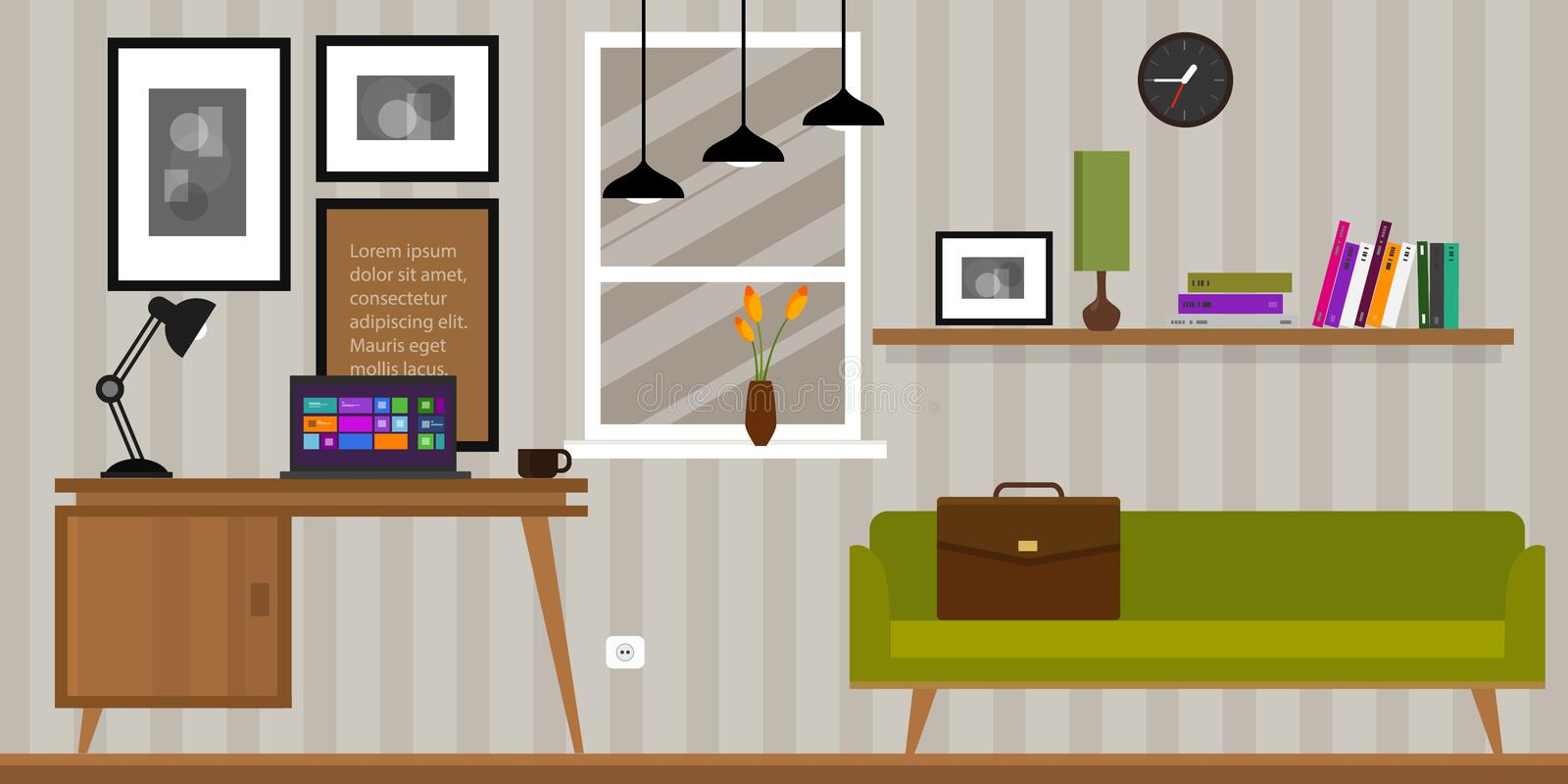 Home interior work space table and sofa vector illustration