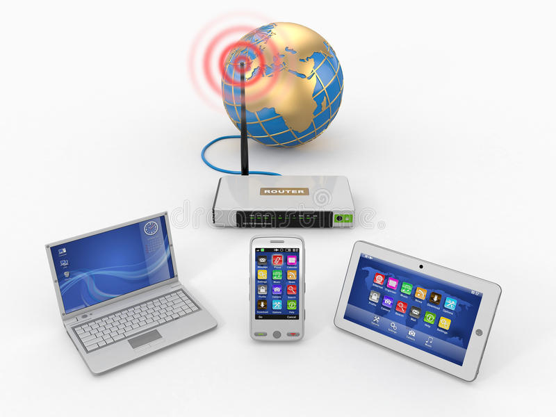 home internetnätverksrouter via wifi stock illustrationer