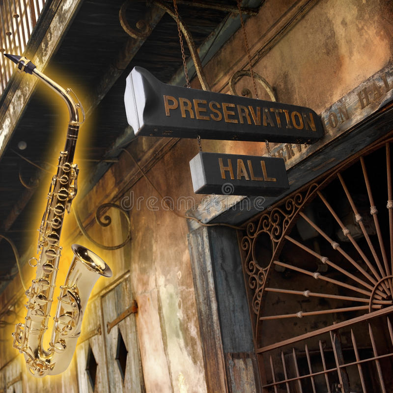 Home of Jazz - New Orleans - Louisiana - USA. Home of Jazz. The Old Preservation Hall is an historic jazz performance hall located in the French Quarter of New royalty free stock images
