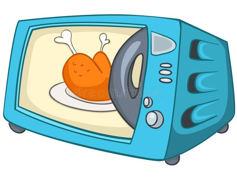 Home kökmikrovåg för tecknad film royaltyfri illustrationer