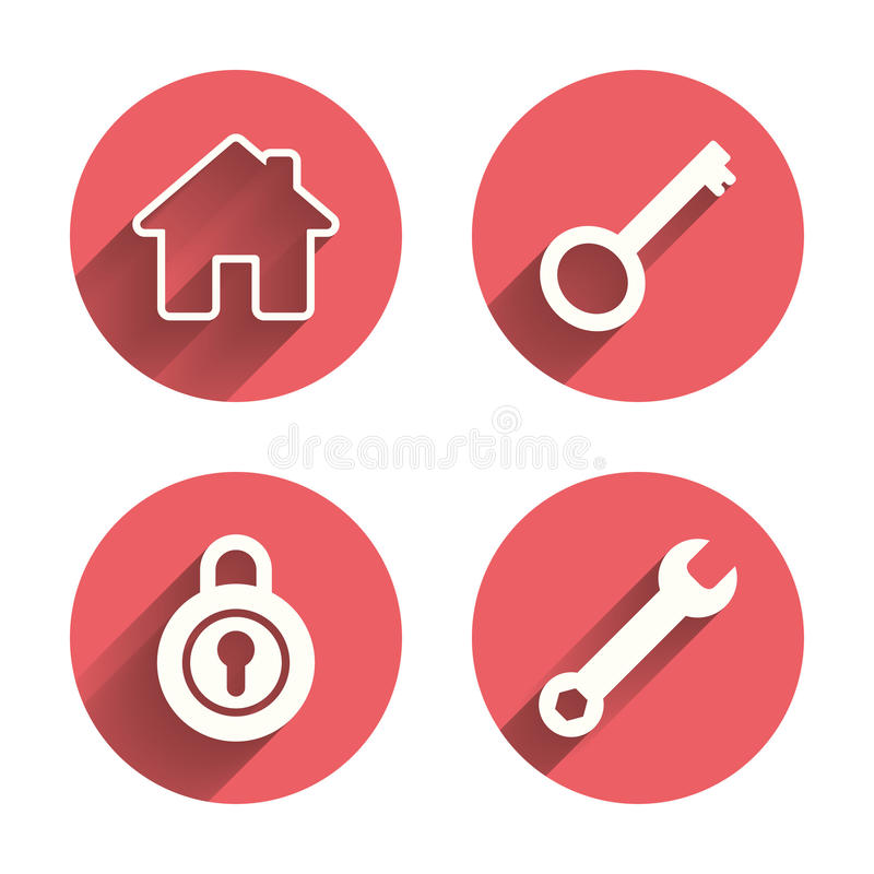 Home key icon. Wrench service tool symbol. Locker sign. Main page web navigation. Pink circles flat buttons with shadow. Vector vector illustration