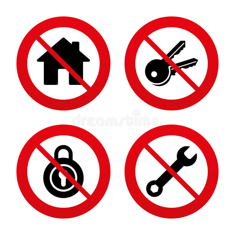 Home key icon. Wrench service tool symbol. No, Ban or Stop signs. Home key icon. Wrench service tool symbol. Locker sign. Main page web navigation. Prohibition vector illustration