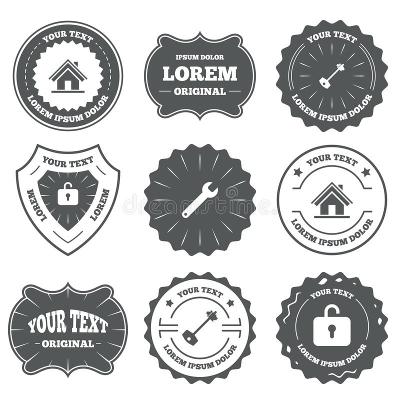 Home key icon. Wrench service tool symbol. Vintage emblems, labels. Home key icon. Wrench service tool symbol. Locker sign. Main page web navigation. Design vector illustration