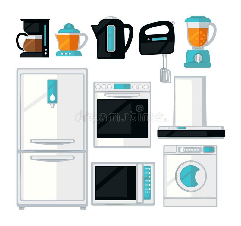 Home kitchen cooking appliances vector flat icons set vector illustration