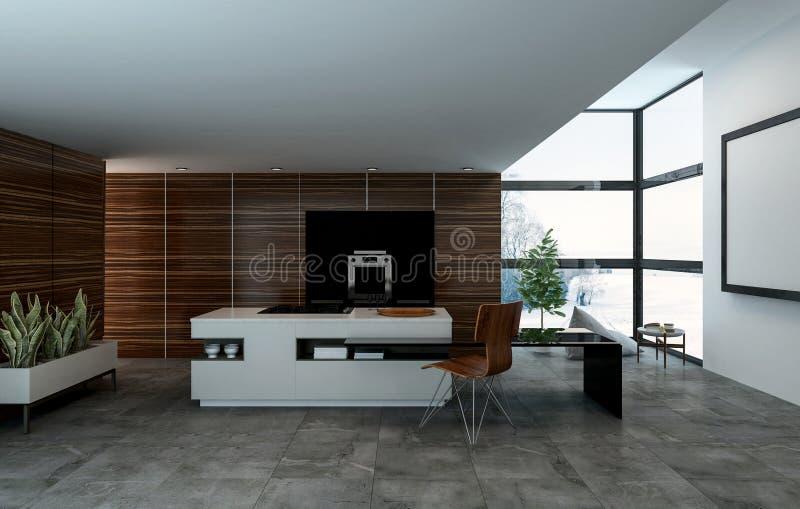 Home kitchen 3D rendered interior royalty free illustration